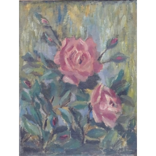 24 - Indistinctly Signed, Oil on canvas laid on board, Still life of roses, Signed lower left and labelle...