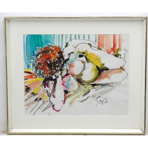 25 - Hendrik Grise ( 1914-1982) American, Mixed media, Reclining nude, Signed lower right. 16 1/2 x 21 1/...