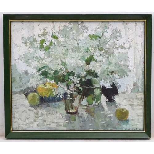 26 - Indistinctly signed East European School, Oil on board, Still life, Signed lower right. 18 3/4 x 22 ...