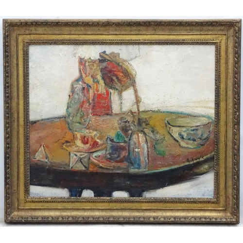 27 - A Davie, Early-mid XX, St. Ives School, Oil on board, Items on a circular table, Signed lower right....