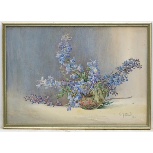 28 - A G Manning-Buler 1924, Watercolour, Still life of delphiniums in a bowl, Signed and dated lower rig...