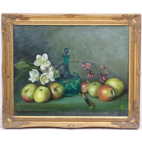 29 - ' GL' mid XX, Oil on canvas board, Still life on a stone ledge, Signed lower right. 15 3/4 x 19 3/4'...