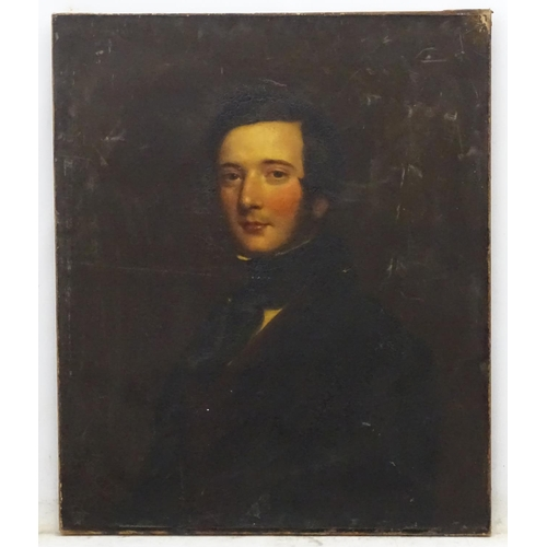 3 - Victorian Portrait School, Oil on canvas, Portrait of a gentleman. 30 x 25''...
