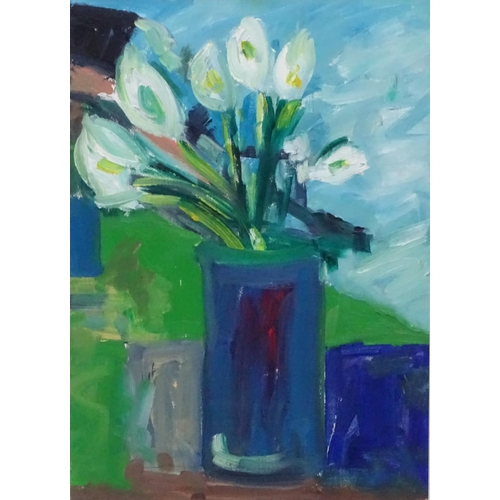 30 - Brian Ballard (1943) Belfast, N. Ireland, Oil on canvas board, Still life of flowers in a vase, Sign...