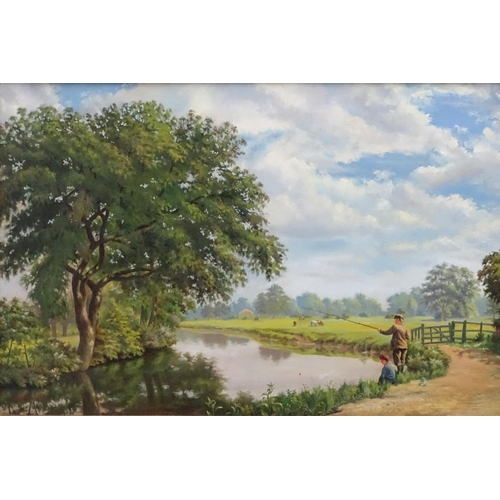 32 - LA Church 1908, Oil on canvas, Boys fishing at the bend in the river, Signed and dated lower left. 2...