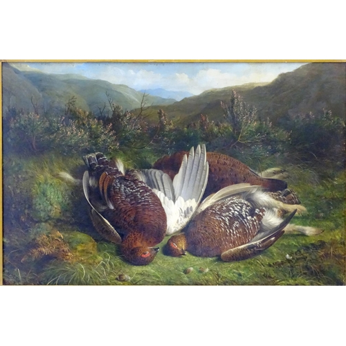33 - Abel Hold  (1815-1891)British, Oil on panel,  Brace and a half of red grouse on Scottish Highland he...