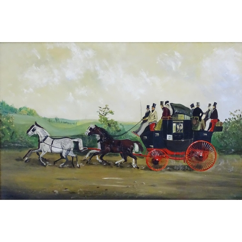 38 - After William Shayer, Oil on canvas, XX, 'Kershaws Stage Coach 1850' (John Kershaw, Hitchin London) ...