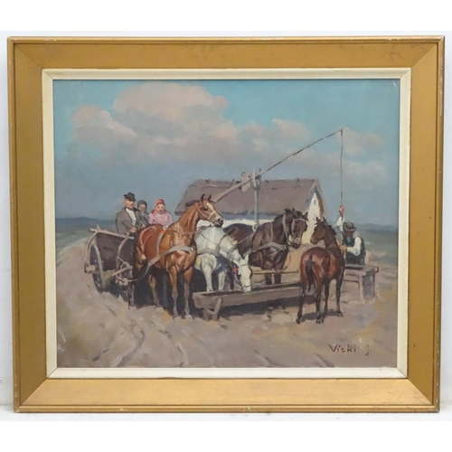 39 - Janos ( Johann / Josef) Viski ( 1891-1987) Hungarian Oil on board, Stopping to water the driven hors...