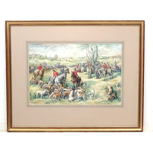 42 - Albert Paterson Barclay ( 1912-1998) Scottish, Watercolour , Regathering of the huntsmen on horses a...