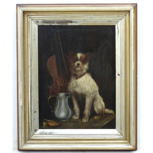45 - Charles Dudley, XIX, Canine School, Oil on canvas, A faithful friend, a dog sat with a cello and pew...