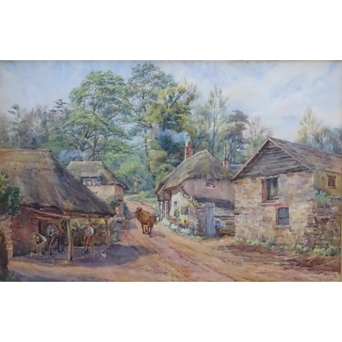 46 - Mary Constance Cox (c.1892-c.1935), Watercolour, ' Cockington Forge , from Torquay 1935 ' , a blacks...
