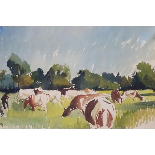 47 - Hal Yates, (19) 64, Watercolour, Ayrshire dairy cows in a field, Signed lower right. 14 x 21