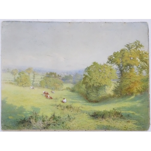 48 - Ada Hanbury (act.1880-1887), Watercolour, Cattle in an English meadow landscape, Signed lower left. ...