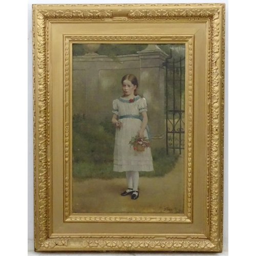 5 - J Evans Eccles 1885, Oil on canvas, Portrait of a Victorian girl with flowers, Signed lower right an...