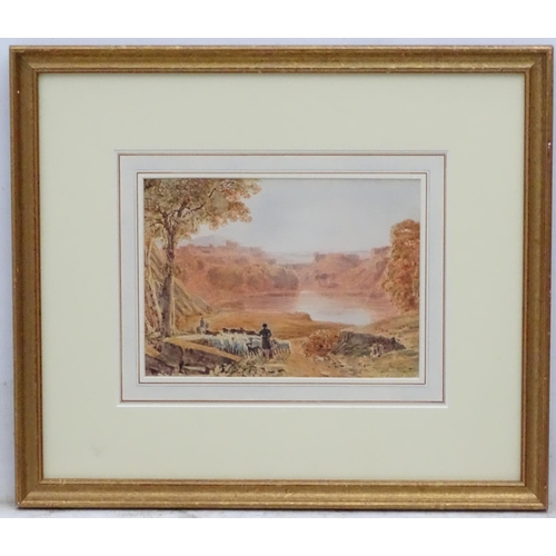 53 - George Barret ( Jnr) (1767-1842), Watercolour, Landscape with figure driving sheep, Signed and dated...