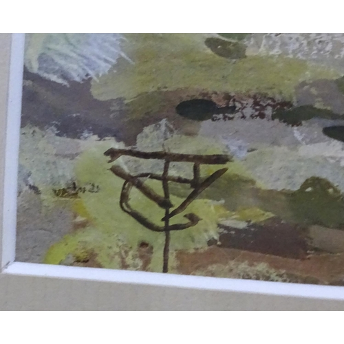 54 - Monogrammed early - mid XX, Oil on paper, Figure driving sheep past a pond, Signed lower left. 9 1/2...