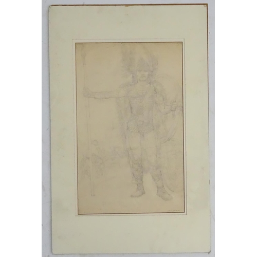 55 - Noel Laura Nisbet (1887-1956), Pencil study, ' Drawing for Heigist ' a Norseman with longboat beyond...