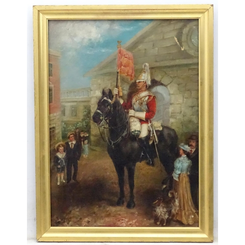 56 - C. Stancliff 1907 Military School, Oil on canvas, ' The Royal Standard Bearer ' , a Royal Horse Guar...