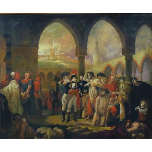 57 - Follower of Antoine-Jean Gros (Early XX Russian),  Oil on canvas,  Napoleon visits the plaque strick...