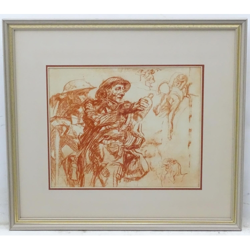 58 - Manner of F. Brangwyn, Military School, Brown pastel sketch, A British soldier offering water to ano...
