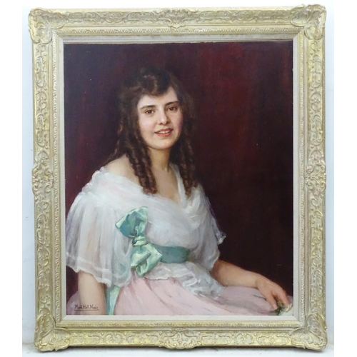 6 - Maud Hall Neale (c. 1870-1950), OIl on canvas, Portrait of Lady Horsham with ringlets, Signed lower ...