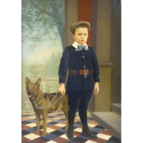 7 - Henri Jonuschat 1912 German, Oil on canvas, Portrait of a boy with his dog, Signed and dated lower l...