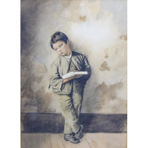 8 - Monogram for James Sant (1820-1916), Watercolour, A Late Victorian boy reading a book leaning agains...
