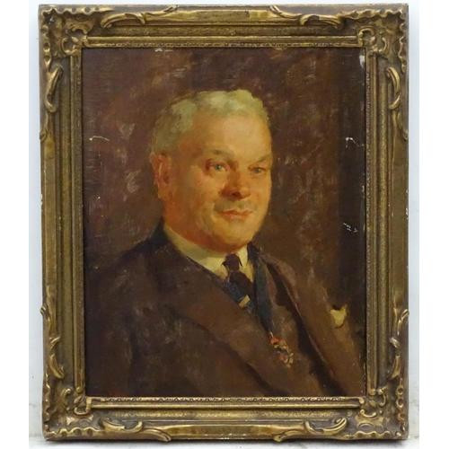 9 - Leonard Frank Skeats ( 1874-1943), Oil on board, Portrait of former owner of the Manor of Bath,  Sig...