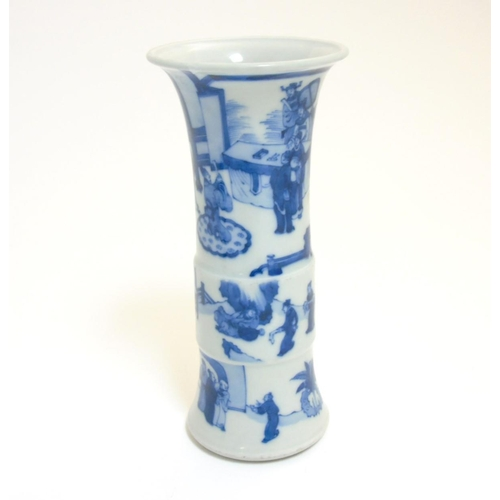 19 - A Chinese blue and white Gu vase with underglaze blue decoration depicting imperials in a pagoda gar...