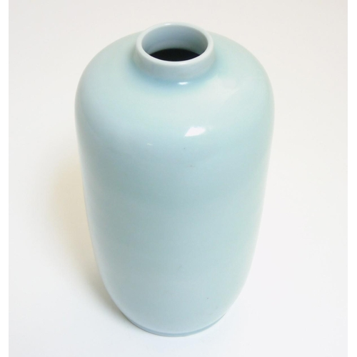 34 - A Chinese Clair de Lune vase of tall oblong form with short cylindrical neck, sealed blue Chinese 6 ...