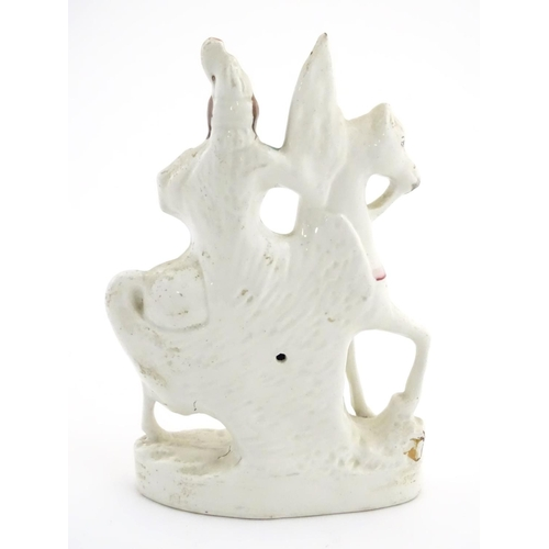 52 - A Staffordshire pottery flat back figure of a knight on horseback. Approx. 11'' high....