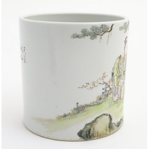11 - A large Chinese famille rose pot/planter, depicting five elders in a landscape with a scroll with a ...