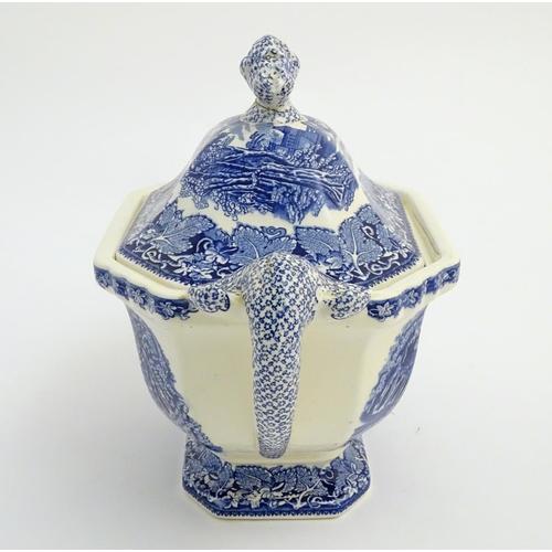 47 - A Mason's Vista Ironstone China blue and white twin handled soup tureen. Mason's Patent Ironstone Vi...