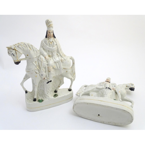 51 - A pair of Victorian Staffordshire pottery flatback figures modelled as Bonnie Prince Charlie on hors...