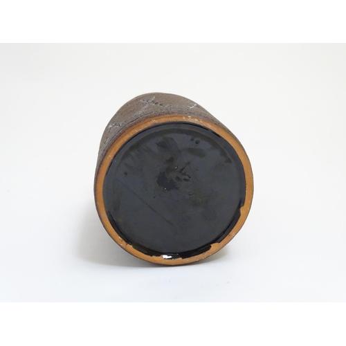 54 - Scandinavian Pottery: A 1970s Eke Bjeren , Gabriel, Sweden stoneware vase having textured brown and ...