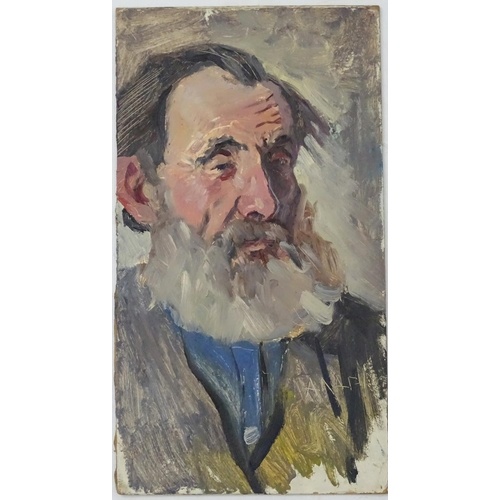 14 - Alexander Mikhailovich Gegunov, 1965, Ukrainian School,  Oil on board, 'Old Man', A portrait of an e...