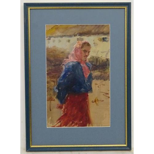 34 - Arkady Grigorievich Pavliuk (1925-2018), Ukrainian School,  Oil on card,  'Milkmaid in Pink', 1956, ...