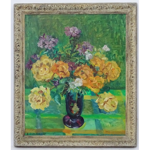 39 - Eleanor Hope Henderson (1917-2006), Oil on board, Still life of roses in a glass vase, Signed lower ...