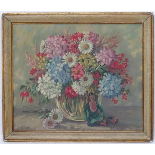 50 - Bernard Ninnes (1899-1971), Oil on canvas, 'Spring', still life of flowers in a vase with a doll len...