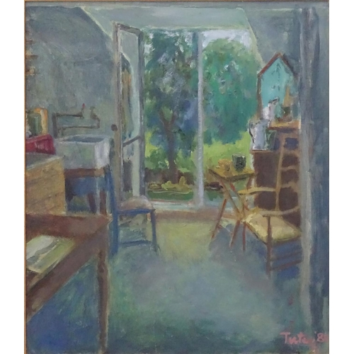 52A - Sophie Tutle, 1960, French, Oil on canvas, Interior, looking out to French windows,  Signed and date...