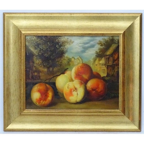 56 - Elena Muhina (1963) Russian, Oil on canvas, Still life of peaches on a window ledge,  Signed mid rig...