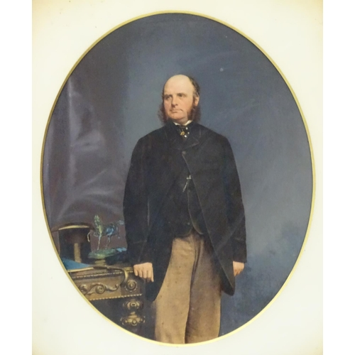 6 - English School, Watercolour touched oval,  Portrait of William Blewitt (1792-1875) together with a c...