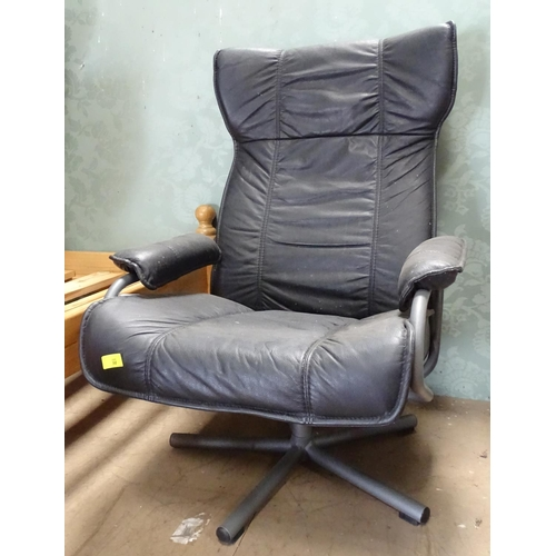 1 - A late 20thC retro office swivel chair...