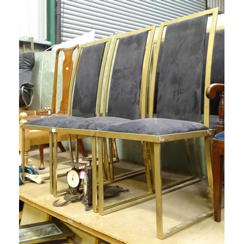 11 - A set of six mid / late 20thC dining chairs in the manner of 'Michel Mangematin' with chrome frames ...