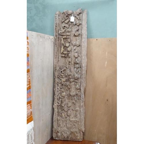 25 - An old carved oak panel...