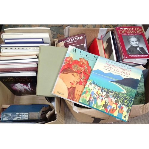 31 - Two boxes of books, titles to include Essential William Morris, The Country Diary of an Edwardian La...