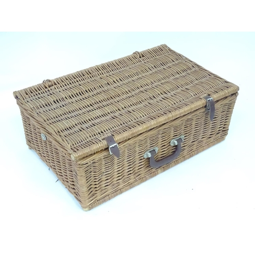 49 - A John Lewis wicker hamper picnic basket and contents...