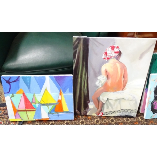 56 - Four modern acrylic on canvas paintings, subjects to include a nude, an Oriental lady, sail boats an...