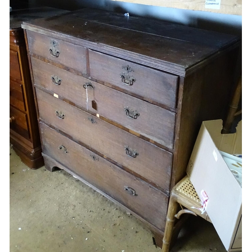 7 - Early 19thC chest of drawers comprising 2 short over 3 long drawers...