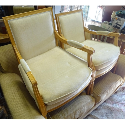 9 - A pair of Louis XV style armchairs...